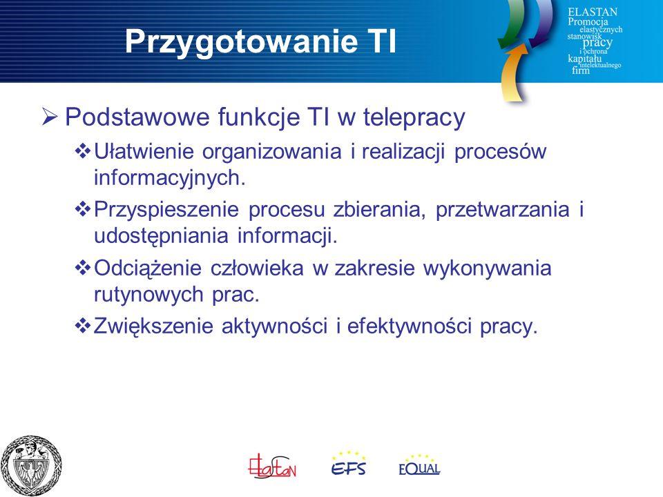Przygotowanie TI  Podstawowe funkcje TI w telepracy  Ułatwienie organizowania i realizacji procesów informacyjnych.
