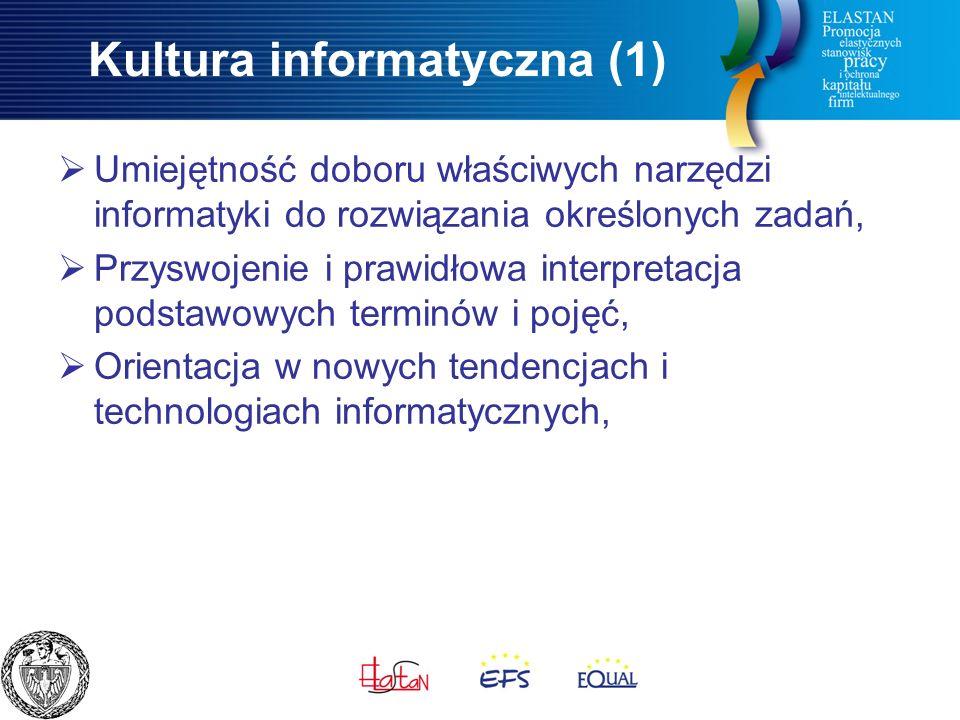 Kultura informatyczna (1)  Umiejętność doboru właściwych narzędzi informatyki do rozwiązania określonych zadań,  Przyswojenie i prawidłowa interpretacja podstawowych terminów i pojęć,  Orientacja w nowych tendencjach i technologiach informatycznych,