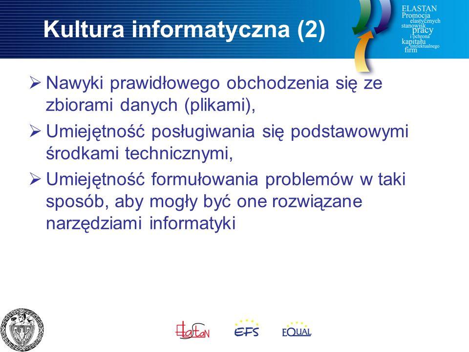 Kultura informatyczna (2)  Nawyki prawidłowego obchodzenia się ze zbiorami danych (plikami),  Umiejętność posługiwania się podstawowymi środkami technicznymi,  Umiejętność formułowania problemów w taki sposób, aby mogły być one rozwiązane narzędziami informatyki