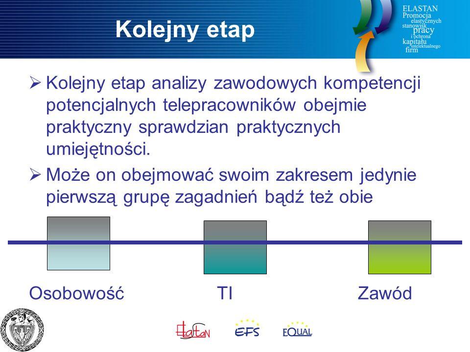 Kolejny etap  Kolejny etap analizy zawodowych kompetencji potencjalnych telepracowników obejmie praktyczny sprawdzian praktycznych umiejętności.