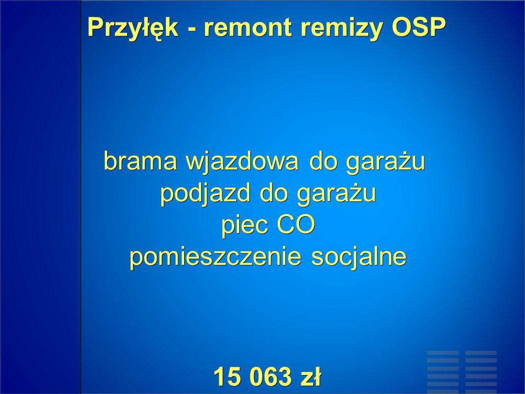 Przyłęk - remont remizy OSP brama wjazdowa do garażu podjazd do garażu piec CO pomieszczenie socjalne 15 063 zł Przyłęk - remont remizy OSP brama wjazdowa do garażu podjazd do garażu piec CO pomieszczenie socjalne 15 063 zł
