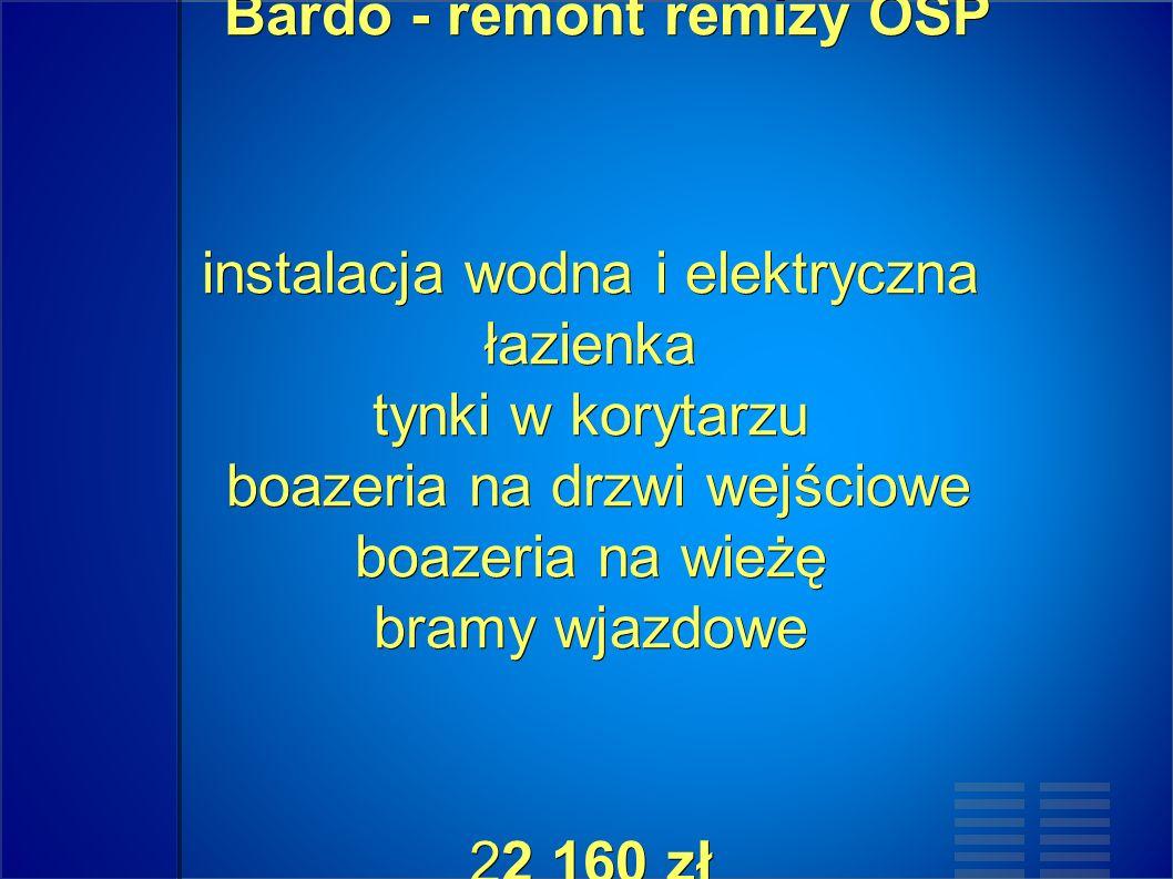 Bardo - remont remizy OSP instalacja wodna i elektryczna łazienka tynki w korytarzu boazeria na drzwi wejściowe boazeria na wieżę bramy wjazdowe 22 160 zł Bardo - remont remizy OSP instalacja wodna i elektryczna łazienka tynki w korytarzu boazeria na drzwi wejściowe boazeria na wieżę bramy wjazdowe 22 160 zł
