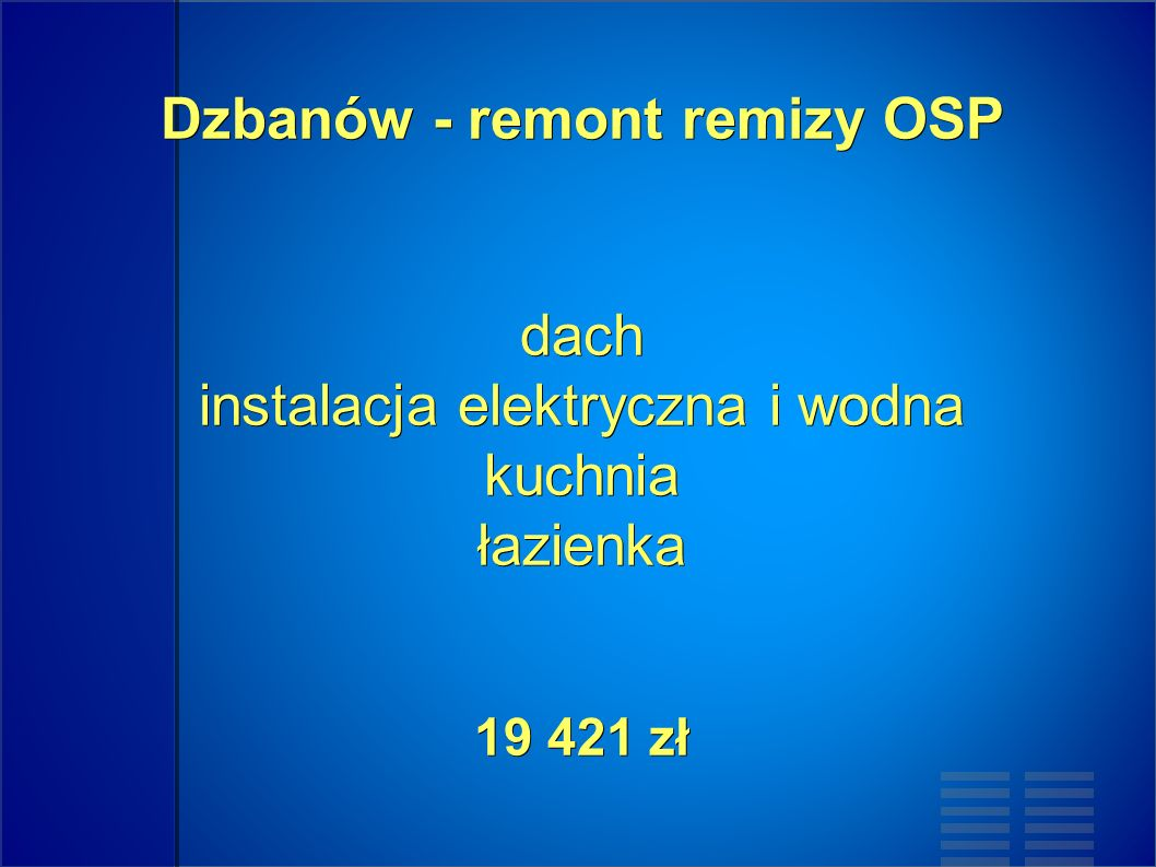 Dzbanów - remont remizy OSP dach instalacja elektryczna i wodna kuchnia łazienka 19 421 zł