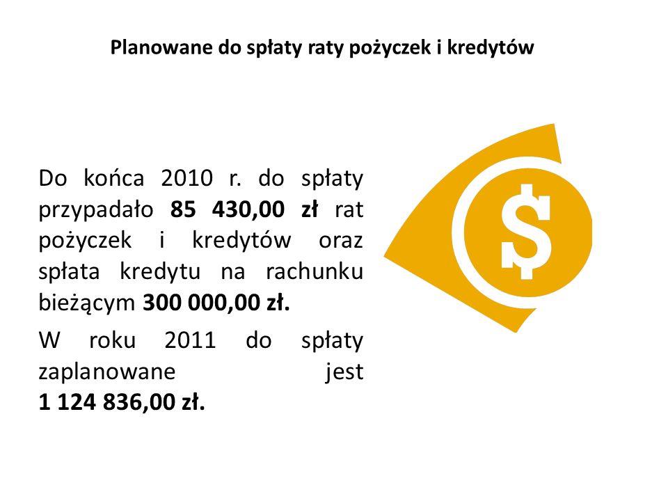Planowane do spłaty raty pożyczek i kredytów Do końca 2010 r.