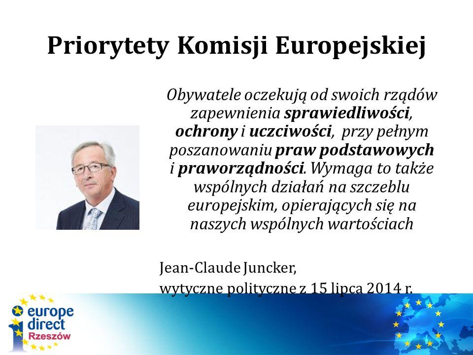 Priorytety Komisji Europejskiej Obywatele oczekują od swoich rządów zapewnienia sprawiedliwości, ochrony i uczciwości, przy pełnym poszanowaniu praw p
