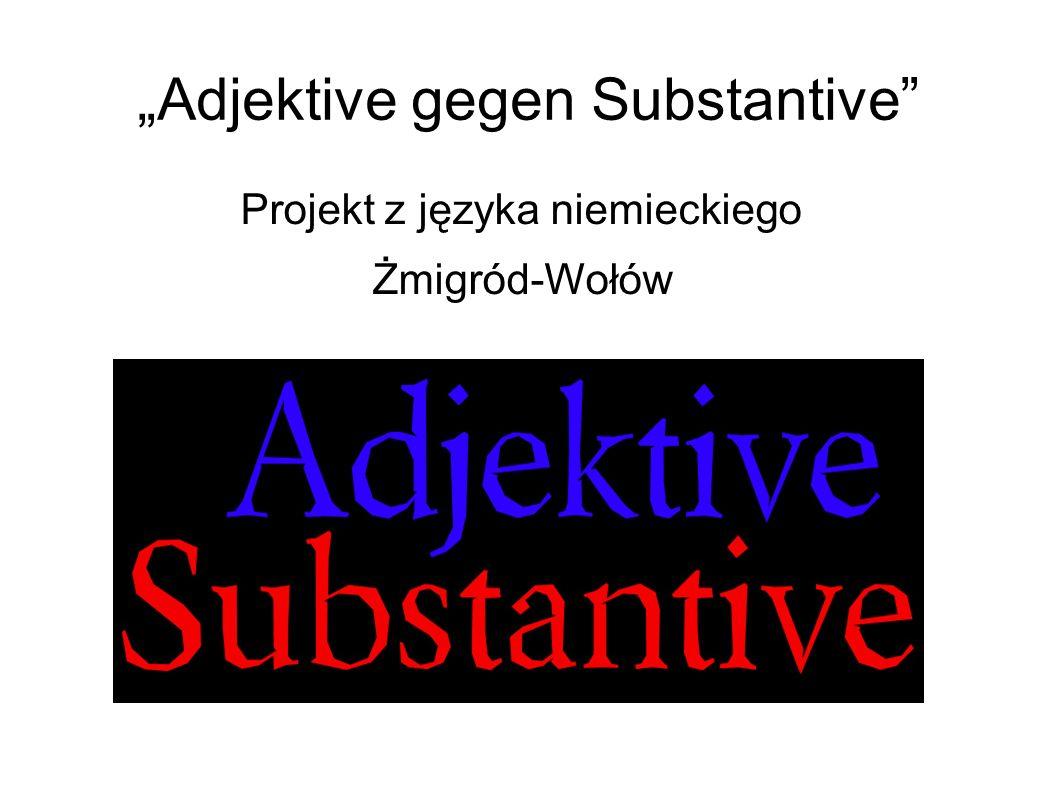 """""""Adjektive gegen Substantive Projekt z języka niemieckiego Żmigród-Wołów"""