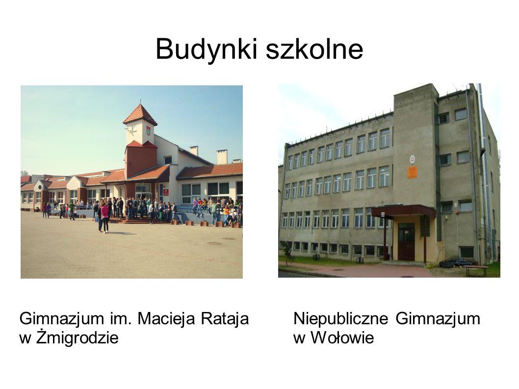 Gimnazjum im. Macieja Rataja w Żmigrodzie Niepubliczne Gimnazjum w Wołowie Budynki szkolne