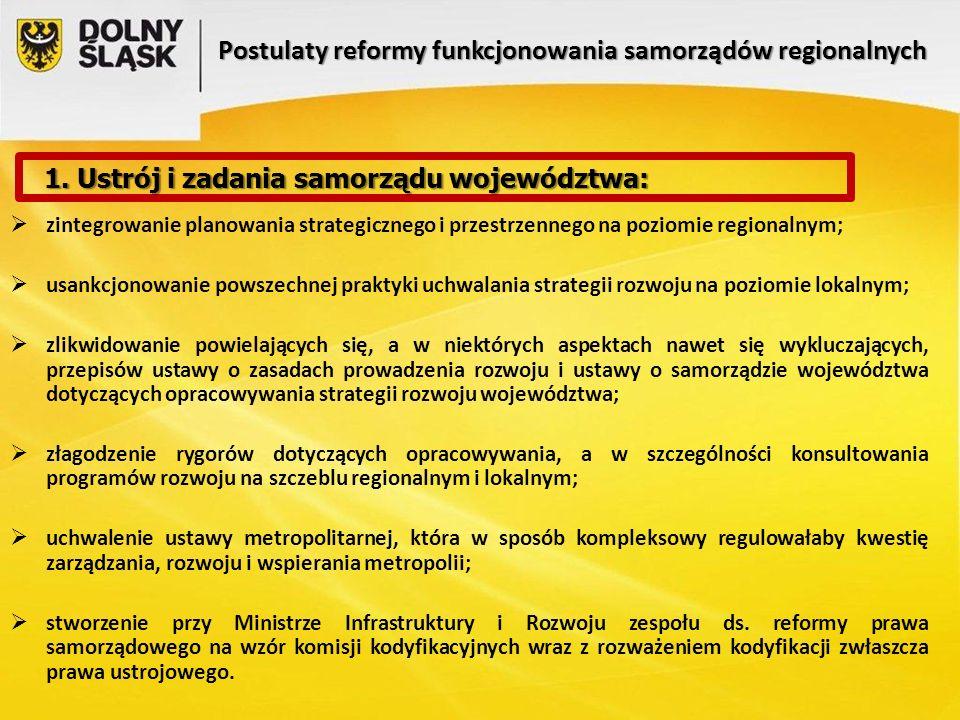 Postulaty reformy funkcjonowania samorządów regionalnych  zintegrowanie planowania strategicznego i przestrzennego na poziomie regionalnym;  usankcjonowanie powszechnej praktyki uchwalania strategii rozwoju na poziomie lokalnym;  zlikwidowanie powielających się, a w niektórych aspektach nawet się wykluczających, przepisów ustawy o zasadach prowadzenia rozwoju i ustawy o samorządzie województwa dotyczących opracowywania strategii rozwoju województwa;  złagodzenie rygorów dotyczących opracowywania, a w szczególności konsultowania programów rozwoju na szczeblu regionalnym i lokalnym;  uchwalenie ustawy metropolitarnej, która w sposób kompleksowy regulowałaby kwestię zarządzania, rozwoju i wspierania metropolii;  stworzenie przy Ministrze Infrastruktury i Rozwoju zespołu ds.
