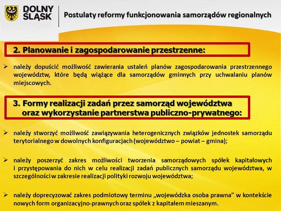 Postulaty reformy funkcjonowania samorządów regionalnych  należy dopuścić możliwość zawierania ustaleń planów zagospodarowania przestrzennego województw, które będą wiążące dla samorządów gminnych przy uchwalaniu planów miejscowych.