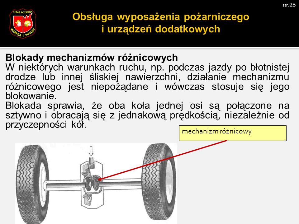 Blokady mechanizmów różnicowych W niektórych warunkach ruchu, np.
