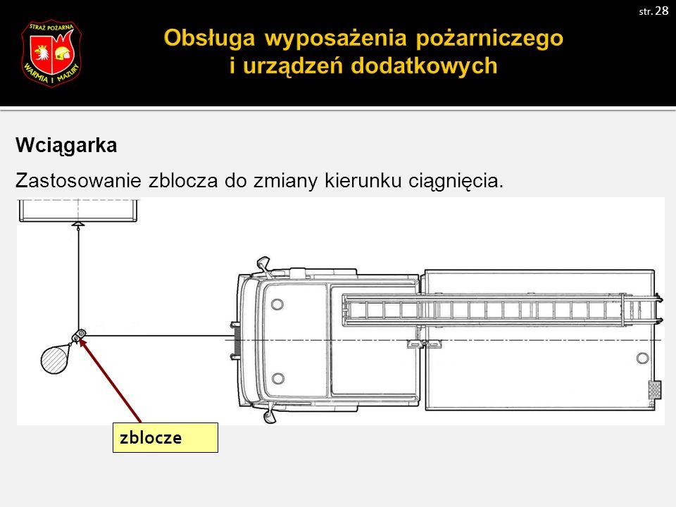 Wciągarka Zastosowanie zblocza do zmiany kierunku ciągnięcia. zblocze str. 28