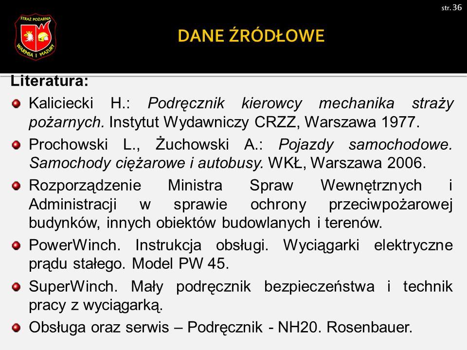 Literatura: Kaliciecki H.: Podręcznik kierowcy mechanika straży pożarnych.