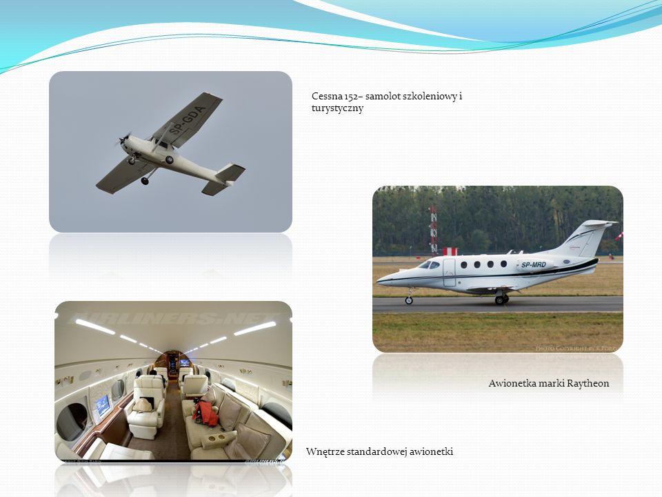 Cessna 152– samolot szkoleniowy i turystyczny Awionetka marki Raytheon Wnętrze standardowej awionetki