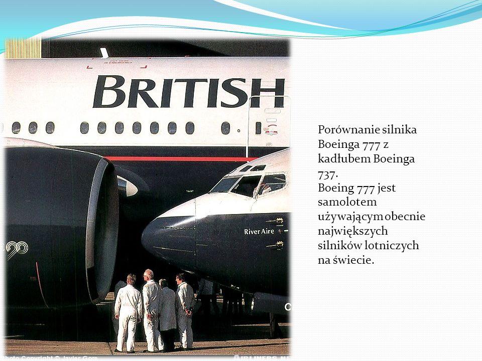 Porównanie silnika Boeinga 777 z kadłubem Boeinga 737.