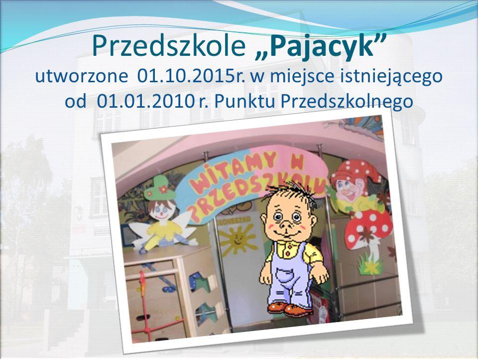 """Przedszkole """"Pajacyk utworzone 01.10.2015r. w miejsce istniejącego od 01.01.2010 r."""