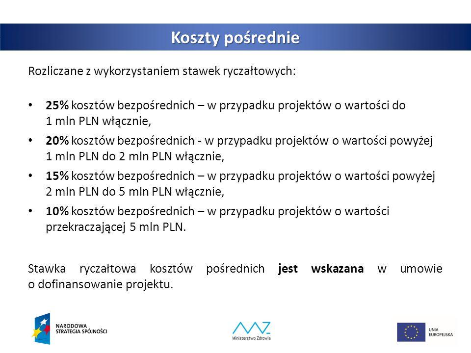 Koszty pośrednie Rozliczane z wykorzystaniem stawek ryczałtowych: 25% kosztów bezpośrednich – w przypadku projektów o wartości do 1 mln PLN włącznie, 20% kosztów bezpośrednich ‐ w przypadku projektów o wartości powyżej 1 mln PLN do 2 mln PLN włącznie, 15% kosztów bezpośrednich – w przypadku projektów o wartości powyżej 2 mln PLN do 5 mln PLN włącznie, 10% kosztów bezpośrednich – w przypadku projektów o wartości przekraczającej 5 mln PLN.