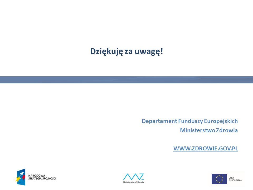 Dziękuję za uwagę! Departament Funduszy Europejskich Ministerstwo Zdrowia WWW.ZDROWIE.GOV.PL 30