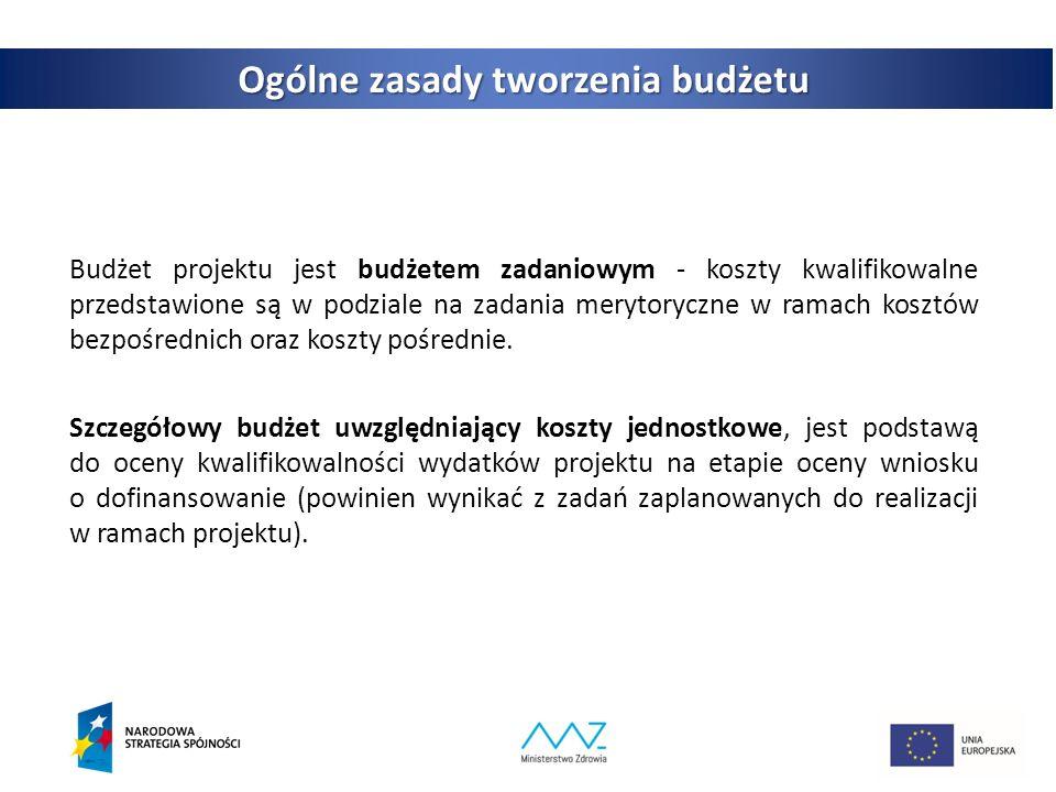 4 Ogólne zasady tworzenia budżetu Budżet projektu jest budżetem zadaniowym - koszty kwalifikowalne przedstawione są w podziale na zadania merytoryczne w ramach kosztów bezpośrednich oraz koszty pośrednie.