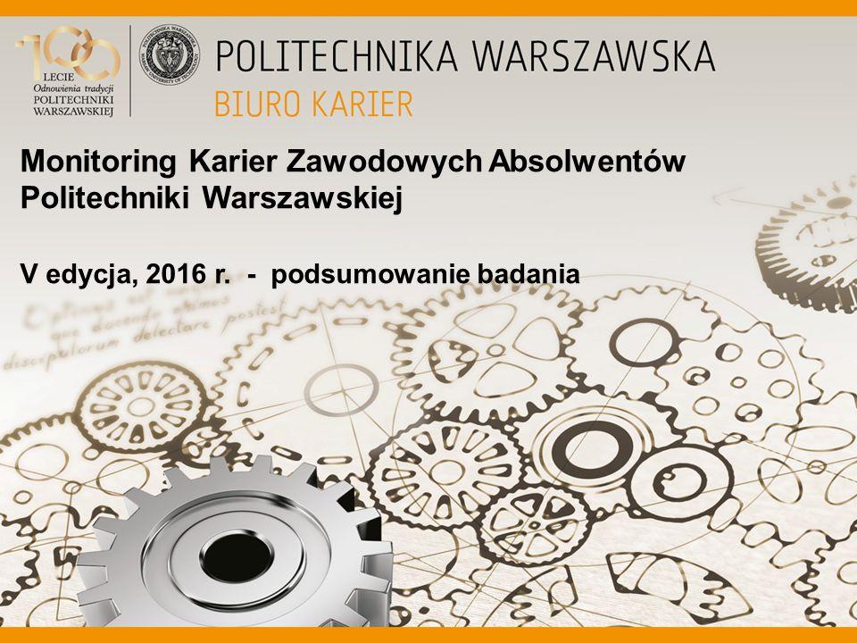 Monitoring Karier Zawodowych Absolwentów Politechniki Warszawskiej V edycja, 2016 r.