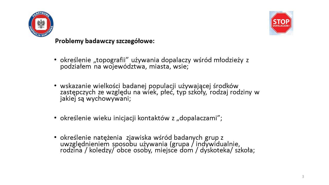 """3 Problemy badawczy szczegółowe: określenie """"topografii"""" używania dopalaczy wśród młodzieży z podziałem na województwa, miasta, wsie; wskazanie wielko"""