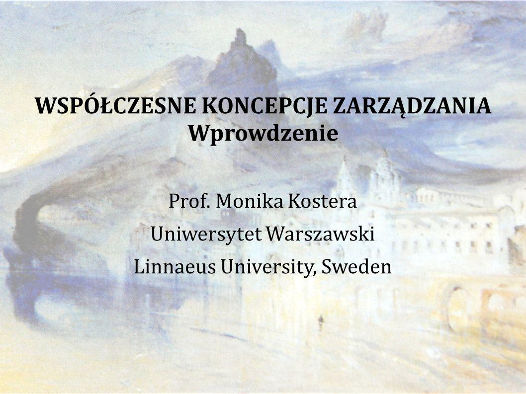WSPÓŁCZESNE KONCEPCJE ZARZĄDZANIA Wprowdzenie Prof.
