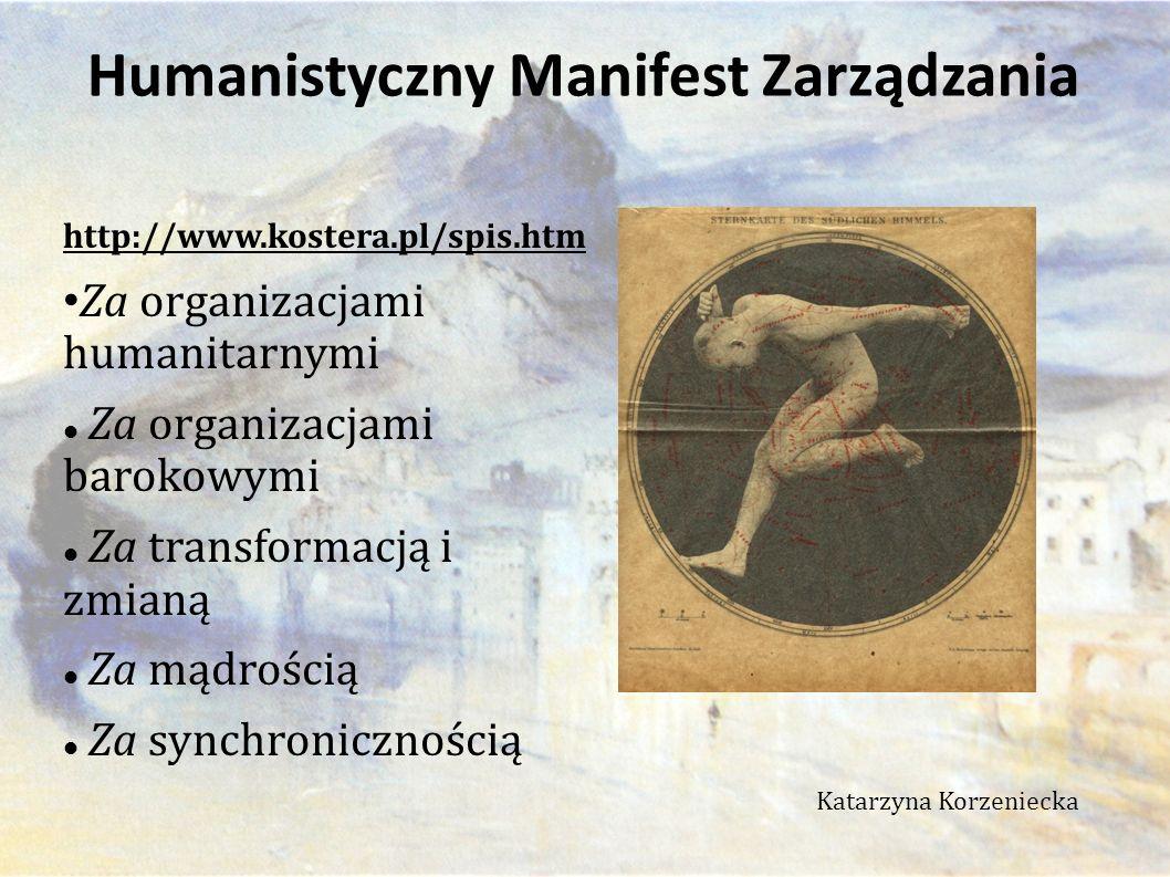 http://www.kostera.pl/spis.htm Za organizacjami humanitarnymi Za organizacjami barokowymi Za transformacją i zmianą Za mądrością Za synchronicznością Katarzyna Korzeniecka Humanistyczny Manifest Zarządzania