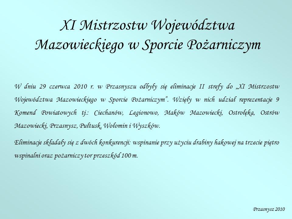 """XI Mistrzostw Województwa Mazowieckiego w Sporcie Pożarniczym W dniu 29 czerwca 2010 r. w Przasnyszu odbyły się eliminacje II strefy do """"XI Mistrzostw"""