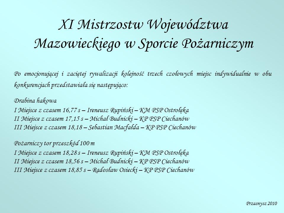 XI Mistrzostw Województwa Mazowieckiego w Sporcie Pożarniczym Po emocjonującej i zaciętej rywalizacji kolejność trzech czołowych miejsc indywidualnie