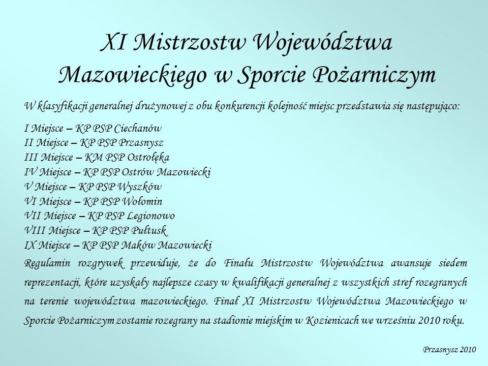 XI Mistrzostw Województwa Mazowieckiego w Sporcie Pożarniczym W klasyfikacji generalnej drużynowej z obu konkurencji kolejność miejsc przedstawia się