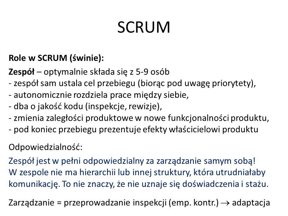 SCRUM Role w SCRUM (świnie): Zespół – optymalnie składa się z 5-9 osób - zespół sam ustala cel przebiegu (biorąc pod uwagę priorytety), - autonomicznie rozdziela prace między siebie, - dba o jakość kodu (inspekcje, rewizje), - zmienia zaległości produktowe w nowe funkcjonalności produktu, - pod koniec przebiegu prezentuje efekty właścicielowi produktu Odpowiedzialność: Zespół jest w pełni odpowiedzialny za zarządzanie samym sobą.