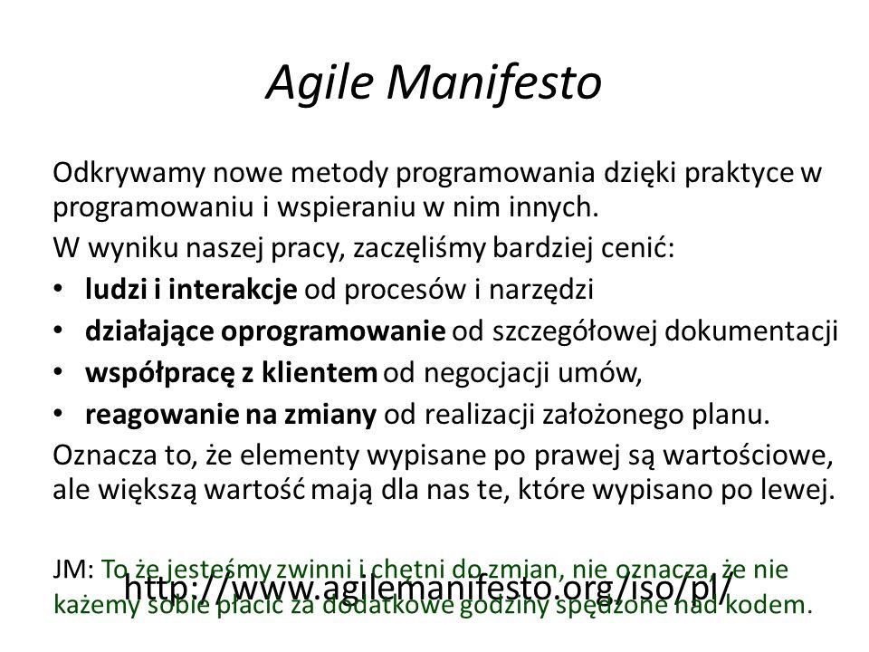 Agile Manifesto Odkrywamy nowe metody programowania dzięki praktyce w programowaniu i wspieraniu w nim innych.