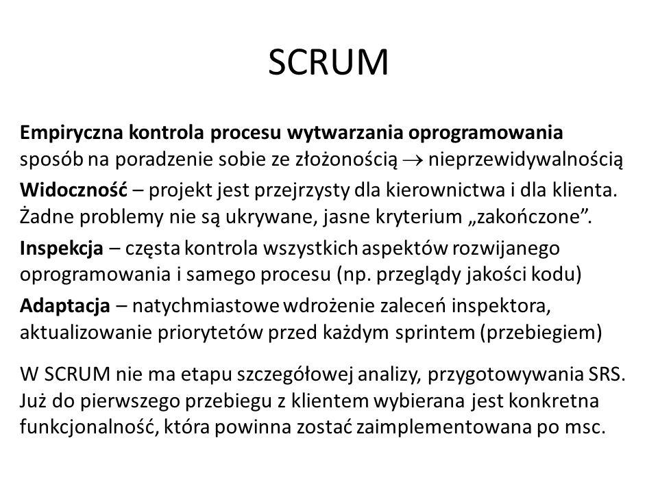 SCRUM Struktura SCRUM = przyrostowe iteracje http://www.methodsandtools.com/archive/archive.php?id=18 Zaległości produktu wybrane do implementacji w danej iteracji Sprint (przebieg, iteracja) od 2 tyg.