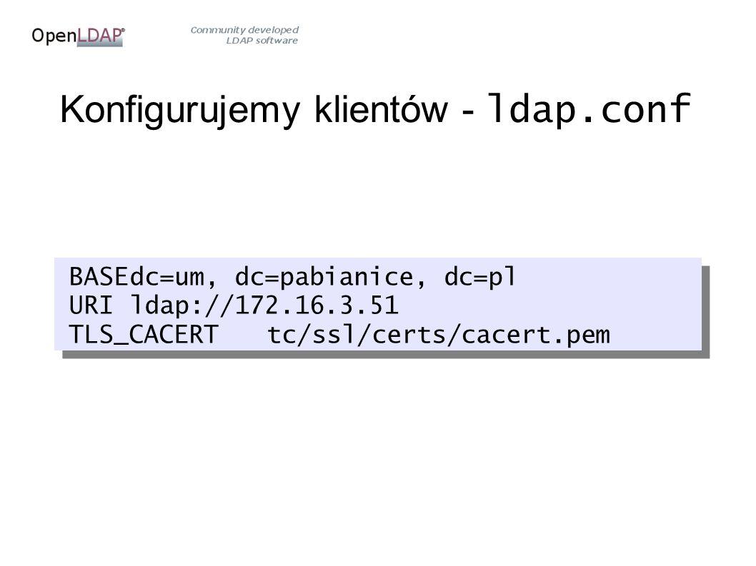 Konfigurujemy klientów - ldap.conf BASEdc=um, dc=pabianice, dc=pl URIldap://172.16.3.51 TLS_CACERTtc/ssl/certs/cacert.pem BASEdc=um, dc=pabianice, dc=pl URIldap://172.16.3.51 TLS_CACERTtc/ssl/certs/cacert.pem