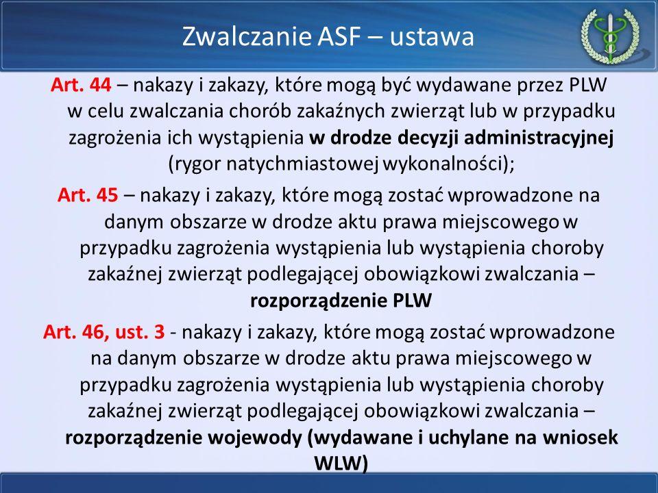Zwalczanie ASF – ustawa Art. 44 – nakazy i zakazy, które mogą być wydawane przez PLW w celu zwalczania chorób zakaźnych zwierząt lub w przypadku zagro