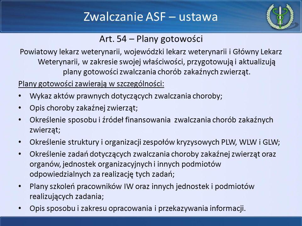 Zwalczanie ASF – ustawa Art. 54 – Plany gotowości Powiatowy lekarz weterynarii, wojewódzki lekarz weterynarii i Główny Lekarz Weterynarii, w zakresie