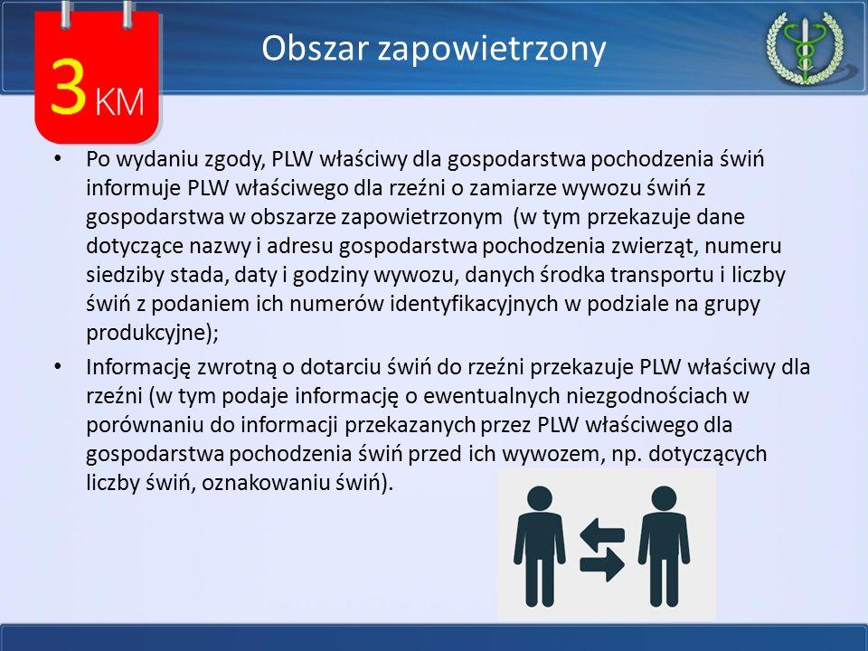 Obszar zapowietrzony Po wydaniu zgody, PLW właściwy dla gospodarstwa pochodzenia świń informuje PLW właściwego dla rzeźni o zamiarze wywozu świń z gos