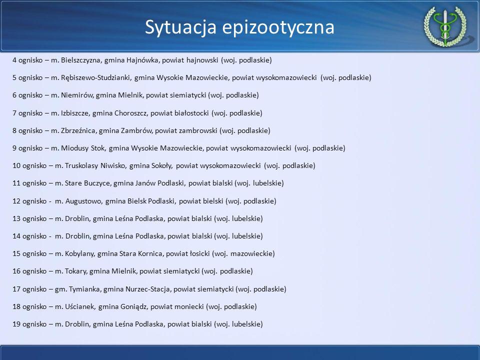 Sytuacja epizootyczna 4 ognisko – m. Bielszczyzna, gmina Hajnówka, powiat hajnowski (woj. podlaskie) 5 ognisko – m. Rębiszewo-Studzianki, gmina Wysoki