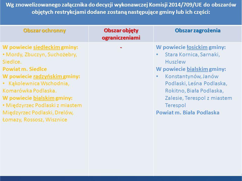 Afrykański pomór świń Wg znowelizowanego załącznika do decyzji wykonawczej Komisji 2014/709/UE do obszarów objętych restrykcjami dodane zostaną następ