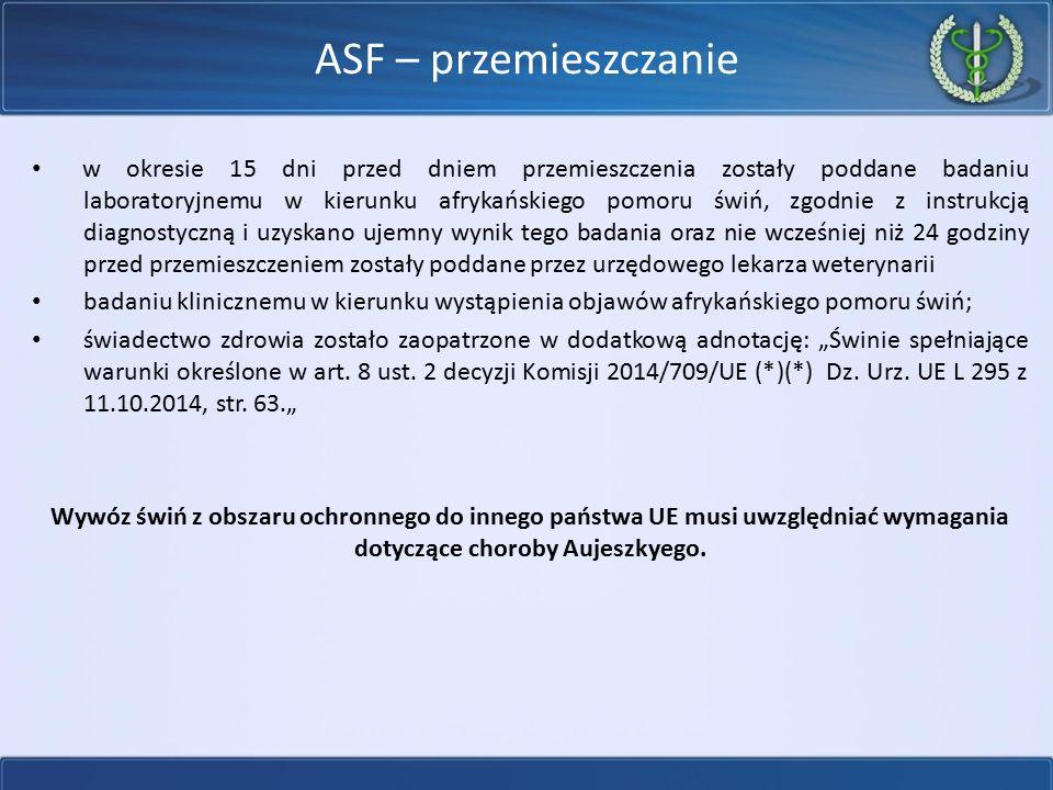 ASF – przemieszczanie w okresie 15 dni przed dniem przemieszczenia zostały poddane badaniu laboratoryjnemu w kierunku afrykańskiego pomoru świń, zgodn
