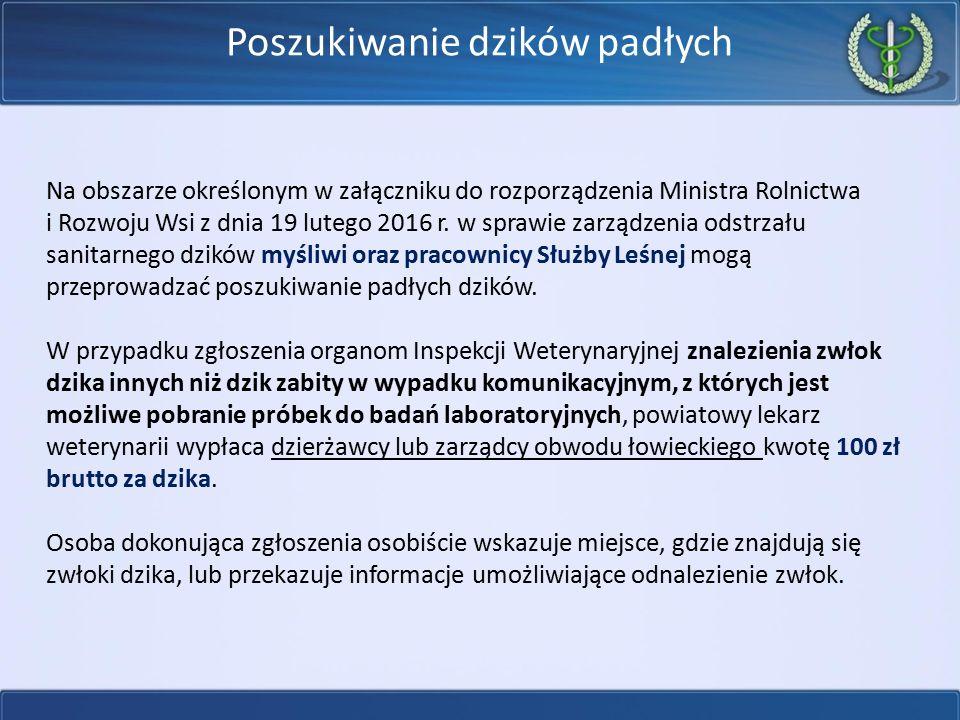 Poszukiwanie dzików padłych Na obszarze określonym w załączniku do rozporządzenia Ministra Rolnictwa i Rozwoju Wsi z dnia 19 lutego 2016 r. w sprawie
