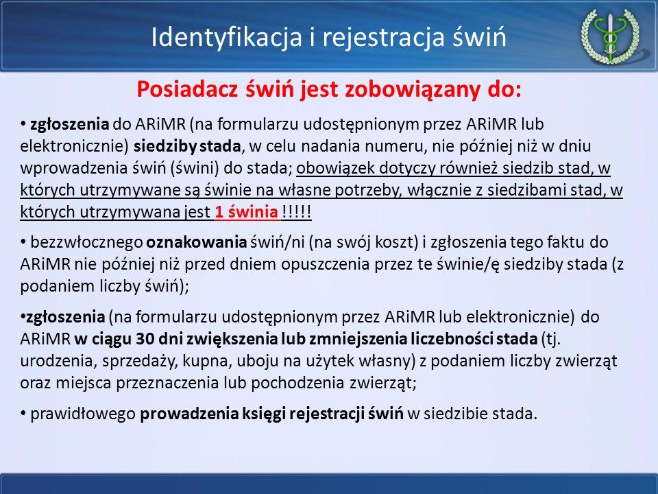 Identyfikacja i rejestracja świń Posiadacz świń jest zobowiązany do: zgłoszenia do ARiMR (na formularzu udostępnionym przez ARiMR lub elektronicznie)