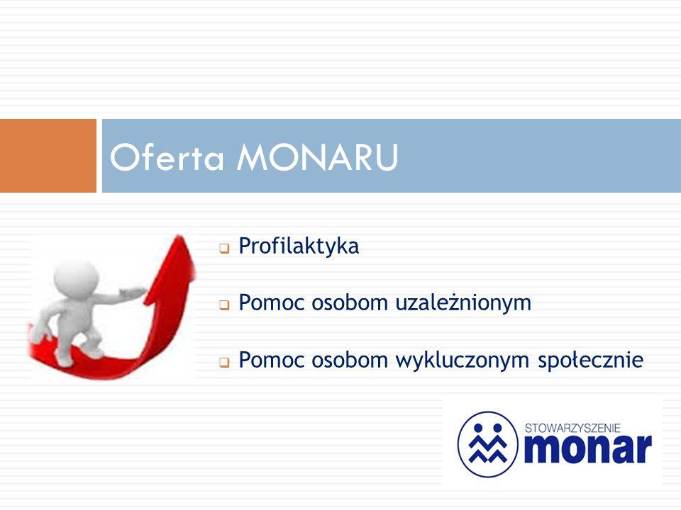  Profilaktyka  Pomoc osobom uzależnionym  Pomoc osobom wykluczonym społecznie Oferta MONARU