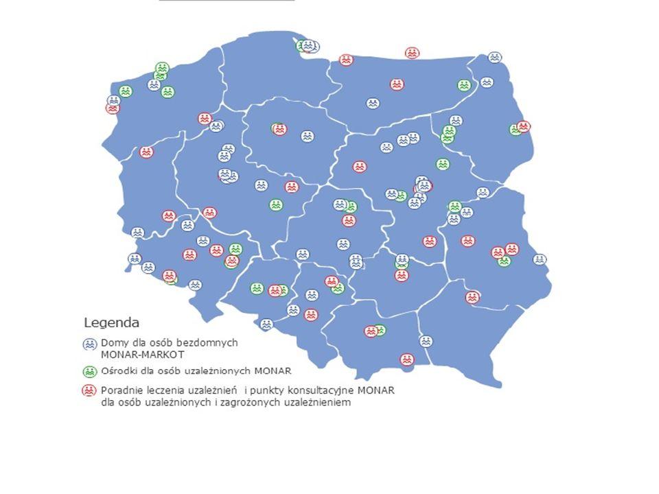  23 placówki w tym :  6 placówek leczenia, terapii i rehabilitacji  6 poradni profilaktyczno-terapeutycznych  11 placówek dla osób bezdomnych i najuboższych (schroniska i 2 noclegownie ) Placówki MONARU w woj.mazowieckim