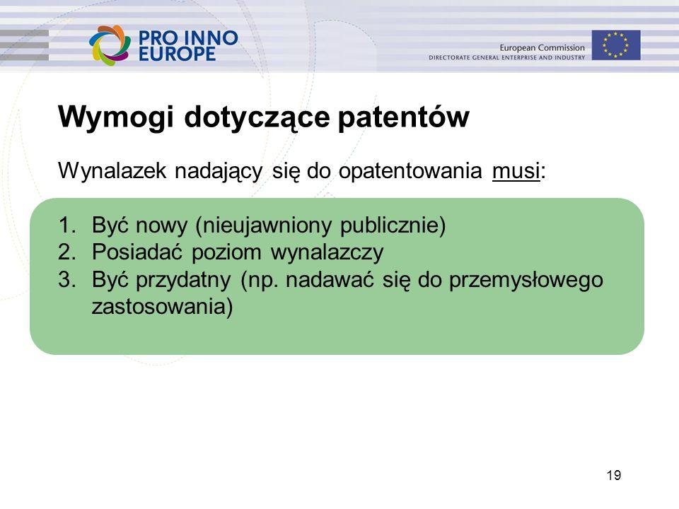 19 Wymogi dotyczące patentów Wynalazek nadający się do opatentowania musi: 1.Być nowy (nieujawniony publicznie) 2.Posiadać poziom wynalazczy 3.Być prz