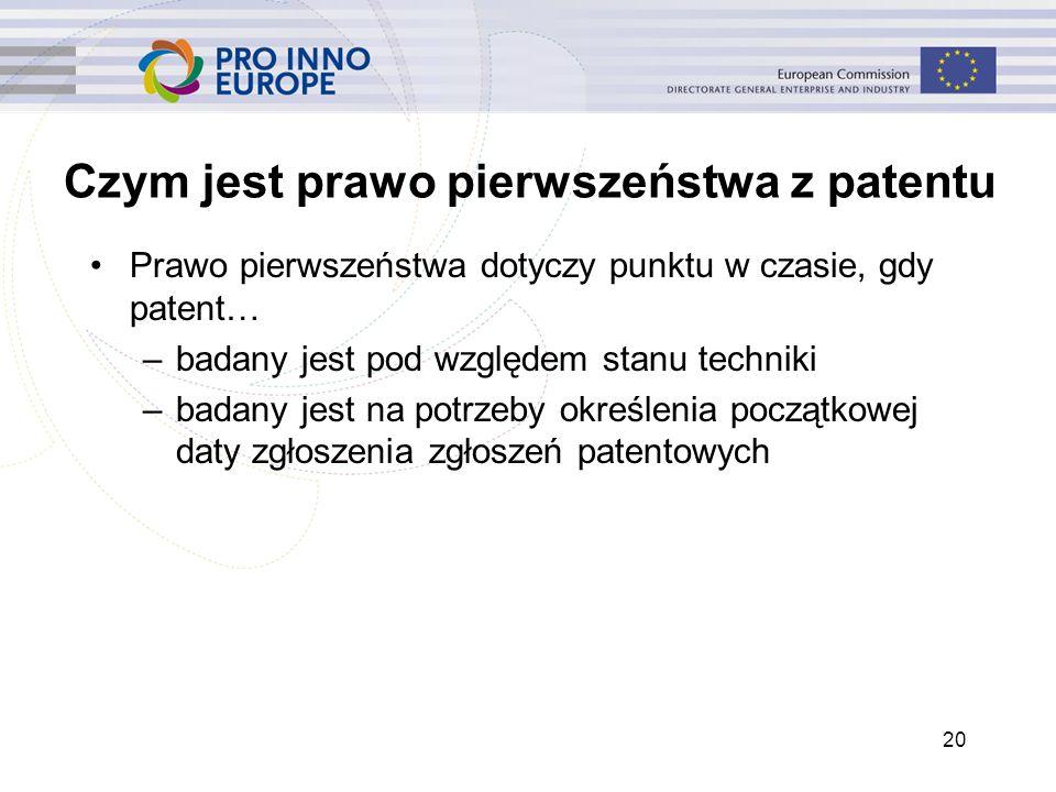 20 Czym jest prawo pierwszeństwa z patentu Prawo pierwszeństwa dotyczy punktu w czasie, gdy patent… –badany jest pod względem stanu techniki –badany j