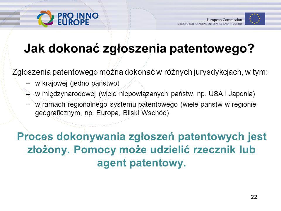 Jak dokonać zgłoszenia patentowego? Zgłoszenia patentowego można dokonać w różnych jurysdykcjach, w tym: –w krajowej (jedno państwo) –w międzynarodowe