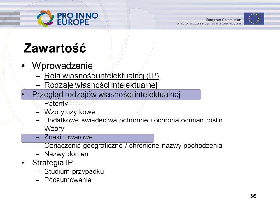 Zawartość 36 Wprowadzenie –Rola własności intelektualnej (IP) –Rodzaje własności intelektualnej Przegląd rodzajów własności intelektualnej –Patenty –W