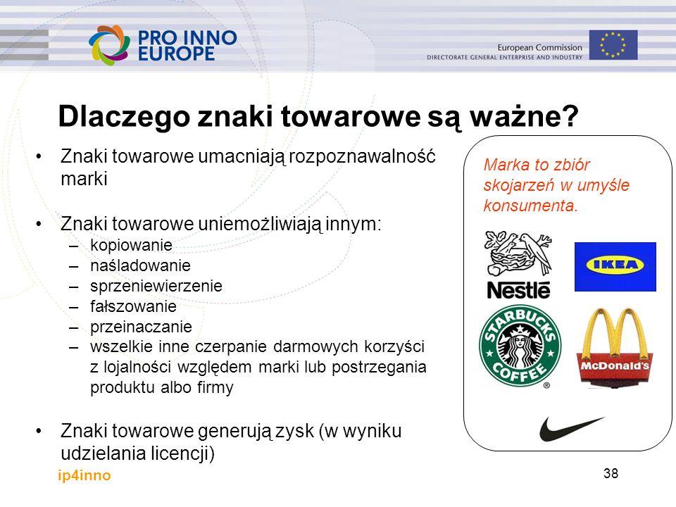 ip4inno 38 Dlaczego znaki towarowe są ważne? Znaki towarowe umacniają rozpoznawalność marki Znaki towarowe uniemożliwiają innym: –kopiowanie –naśladow