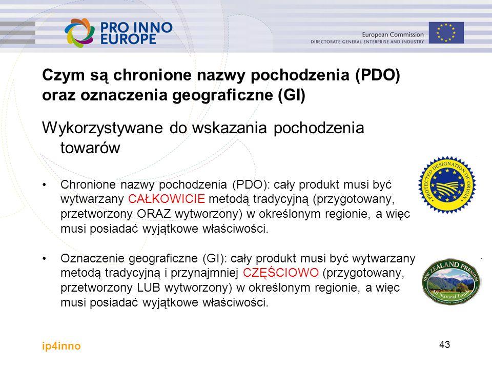 ip4inno 43 Czym są chronione nazwy pochodzenia (PDO) oraz oznaczenia geograficzne (GI) Wykorzystywane do wskazania pochodzenia towarów Chronione nazwy
