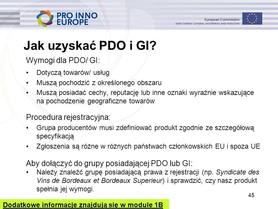 Jak uzyskać PDO i GI? Wymogi dla PDO/ GI: Dotyczą towarów/ usług Muszą pochodzić z określonego obszaru Muszą posiadać cechy, reputację lub inne oznaki
